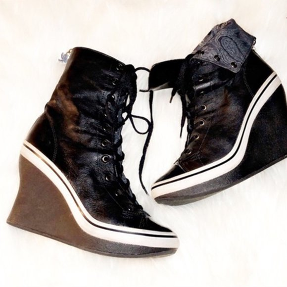 Jessica Simpson Lace Up Black Wedge Sneakers